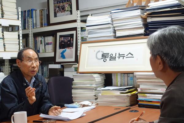 권 명예회장과의 인터뷰는 10월 20일 통일뉴스 사무실에서 2시간 30분에 걸쳐 진행됐다. [사진-통일뉴스 이승현 기자]